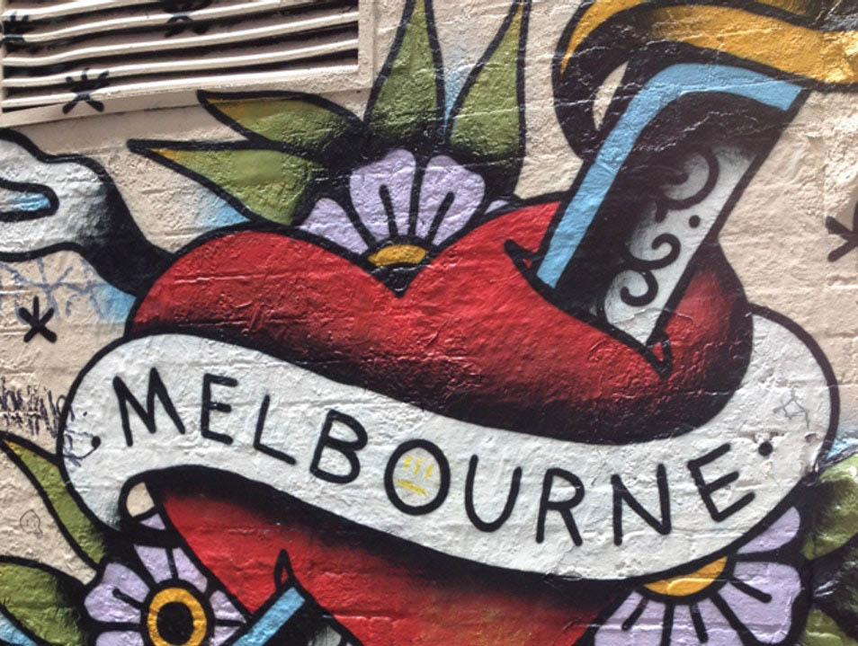 Melbourne street art, heart, Australia