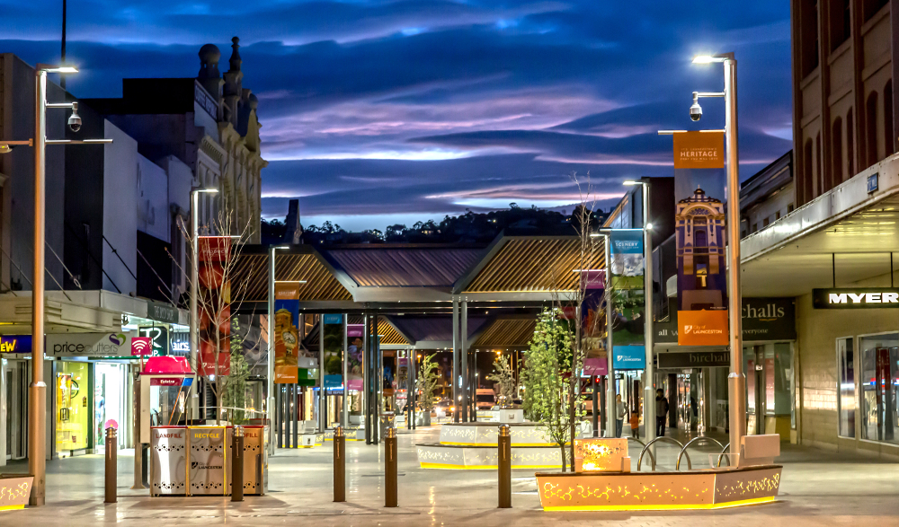 Launceston, view of the new City Mall development in the evening