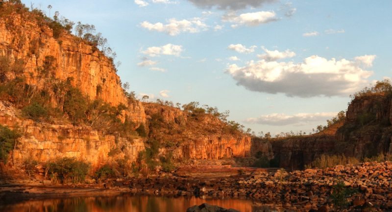 View from rock level of the cliffs over the Katherine River at sunset